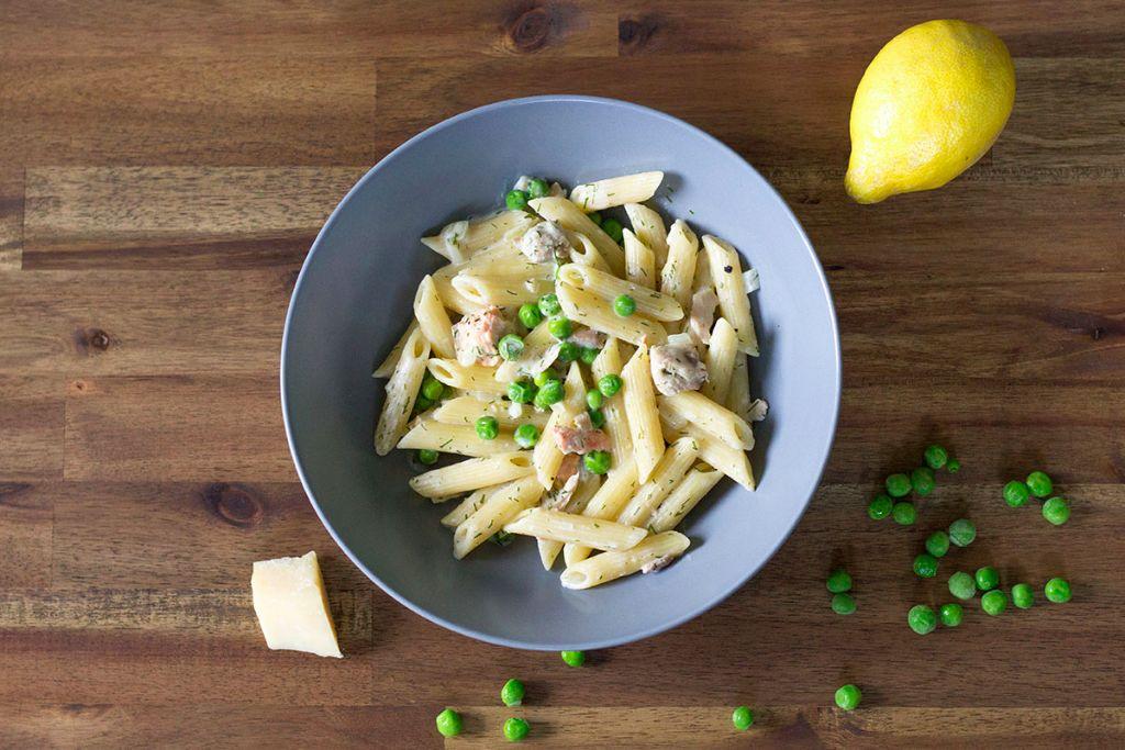 Rezept schnelle Pasta mit Lachs