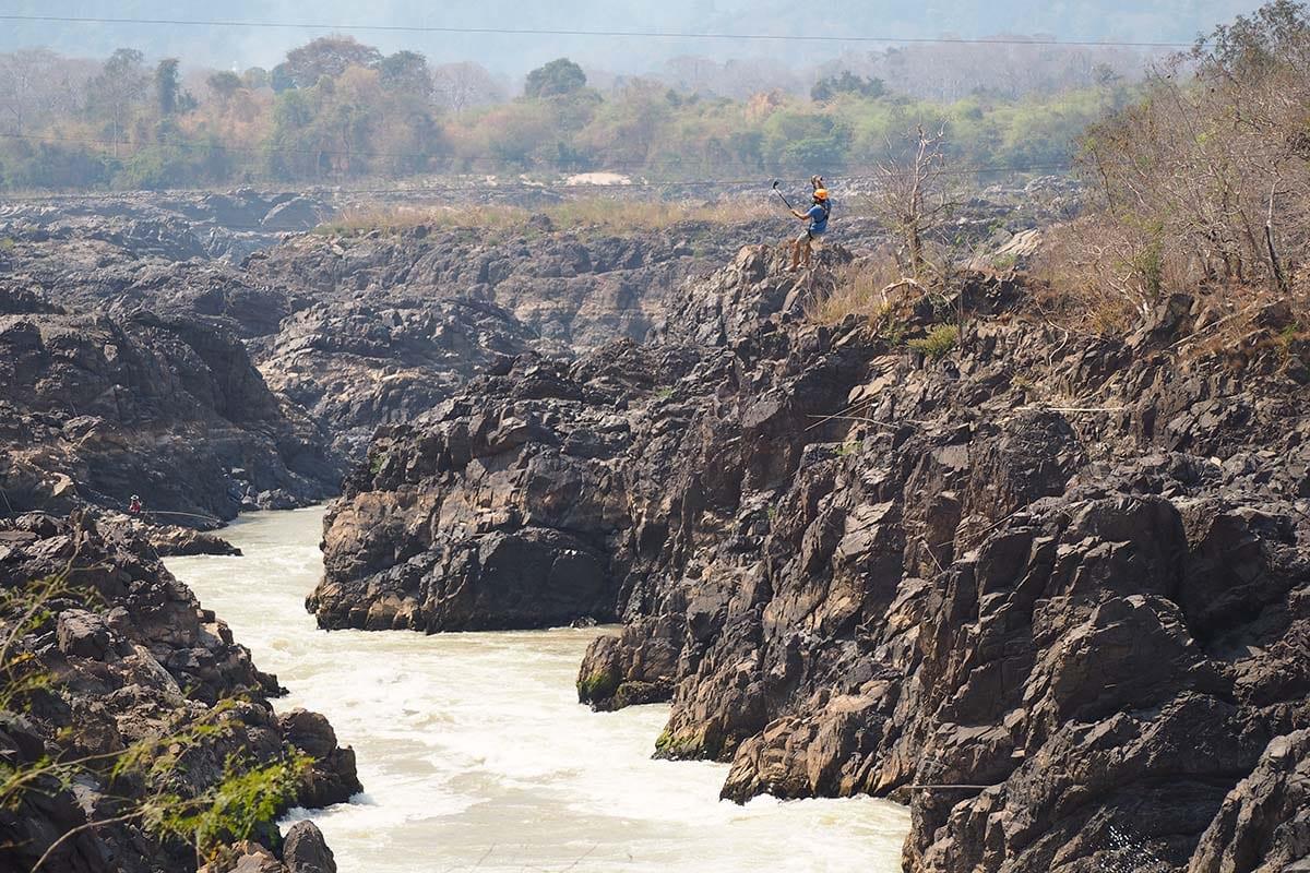 Individuelle Laos Reisen – Zipline über den Wasserfällen von 4.000 Island im mekong