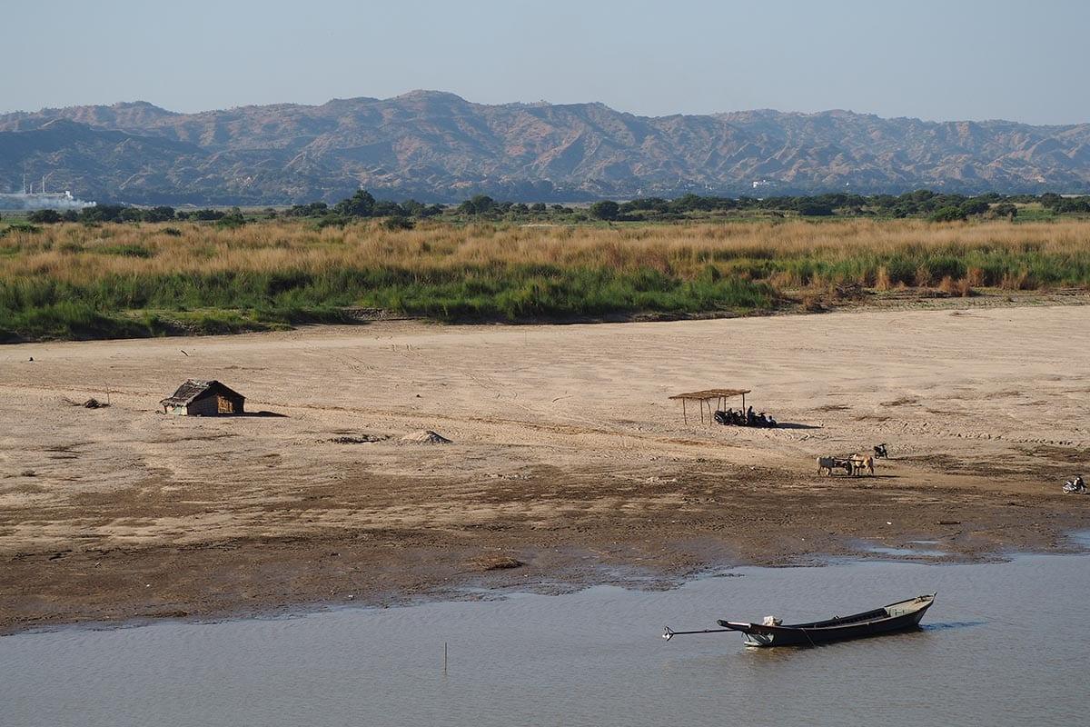 Unsere schönsten Myanmar Sehenswürdigkeiten: Ausblick auf den Fluss Ayeryarwadi in Bagan