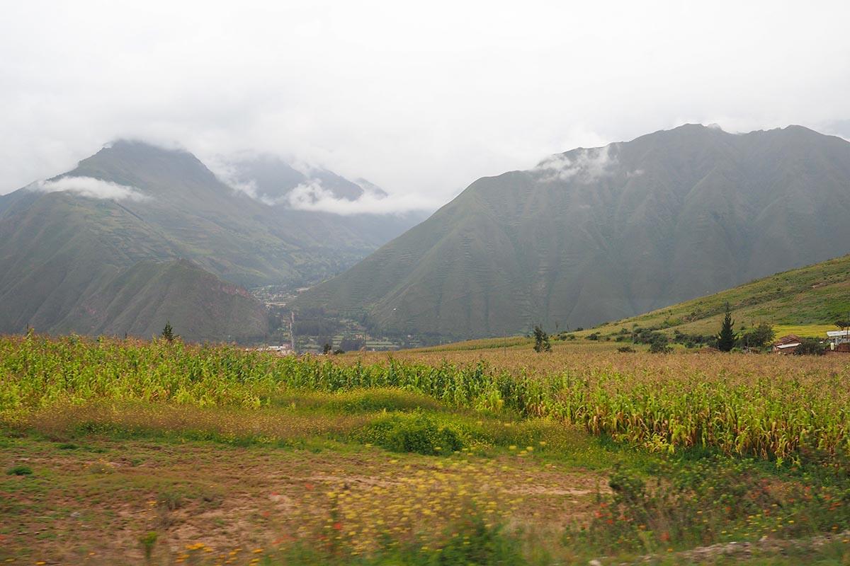 Üppig, grüne Landschaft im Heiligen Tal der Inka